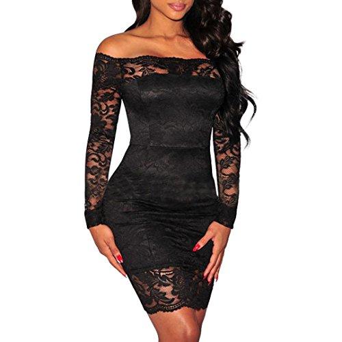 82ec4f41a4f7b0 Elecenty Damen Partykleid Spitzekleid Schulterfrei Sommerkleid Solide Kleider  Frauen Mode Langarm Knielang Kleid Minikleid Kleidung