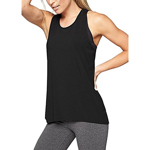 a64c5b08105c12 MCYs Damen Sommer Lose Cross Rücken Yoga Shirt ärmellos Workout Oberteile  Top Fitness Sport Tank Weste T-Shirt Bluse Crop Top