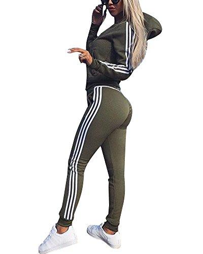 1d82b9e59f Tomwell Damen Mode Streifen Trainingsanzug Frauen Lange Ärmel Zipper Top +  Lange Hose Sportswear 2 Stück Set Sport Yoga Outfit