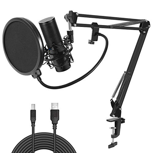 tonor usb kondensator mikrofon aufnahme microphone aufh ngung arm stativ mit shock halterung. Black Bedroom Furniture Sets. Home Design Ideas